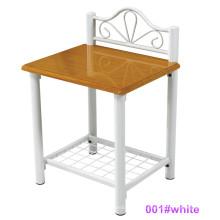 Mesa de cabeceira moderna de madeira e metal com mesa de cabeceira (001 # White)