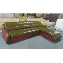 Green Color Modern L Shape Leather Sofa (C22)