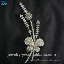 La cinta de la alta calidad plateó los accesorios nupciales del pelo del metal de los accesorios de la mariposa cristalina de la princesa