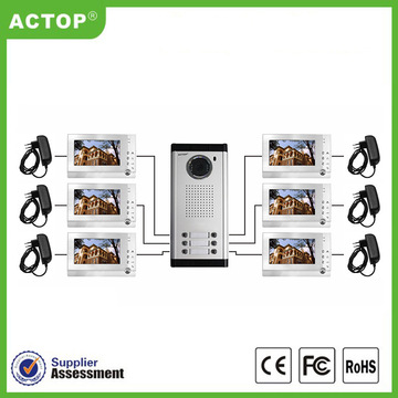 Wired Video 6 unit Apartment Intercom System