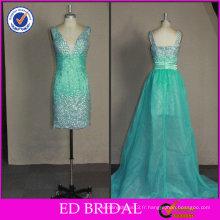2017 ED Bridal OEM OEM de haute qualité perlé avec train amovible Photos réelles de robe de cocktail
