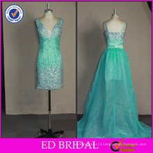 2017 ED Bridal High Quality OEM Bling Beaded with Detachable Train Real Pictures of Cocktail Dress