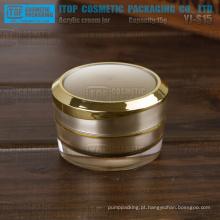 YJ-S15 15g interessante forma redonda do atarraxamento cor personalizável camadas dobro 15g luz ouro jar