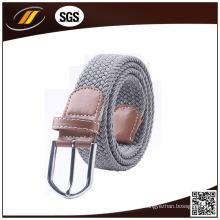 Tela trenzada Pure Color Elastic Stretch Belt con lengüetas de cuero marrón