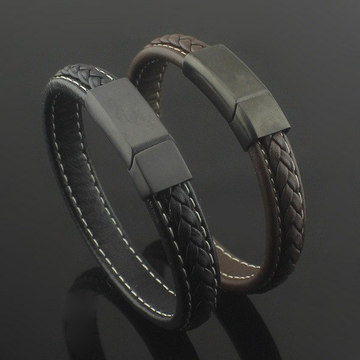 Magnetic Clasp With Braided Genuine Leather Bangle Bracelet