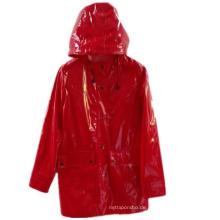 Red Hooded Button * Pocket Solid PU Regenmantel für Erwachsene