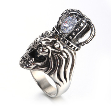 Custom animal lion diamond crown ring