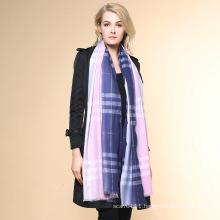 Women Fashion Checked Pattern 100% Cashmere Winter Shawl (YKY4519)