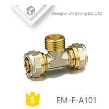 EM-F-A101 Brass male brass tee compression pipe fitting
