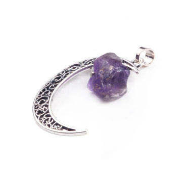 Charm Natural Raw Rough Amethyst Gemstone Moon Pendant