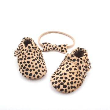 Leopard Mo-Hair Leather Moccasins Baby Shoes