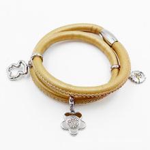 Bracelet en cuir enveloppé de mode, bracelet fait sur commande en cuir de charme
