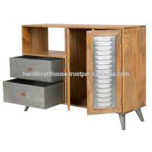 Mango industrial de madera y metal 2 cajones 1 Aparador de puerta
