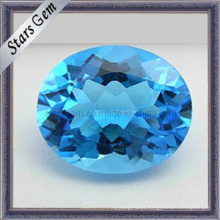 Natural suíço azul topázio forma oval cortado gemas para pingente