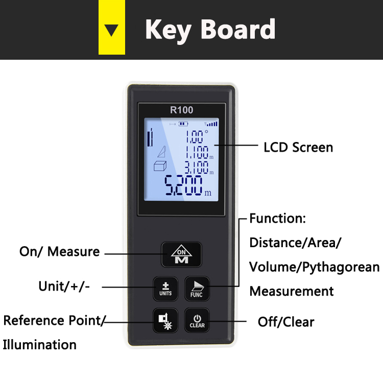 key button R100 Laser distance meter