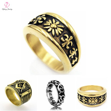 Fashion 7MM Vintage Gold Rings Jewelry For Men, Men New Gold Ring Models
