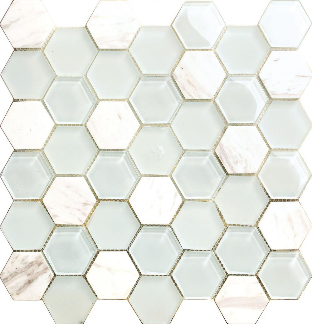 White Hexagon Decoration Mosaic Tile