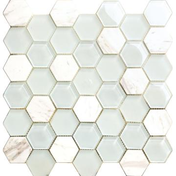 Weiße Marmor Hexagon Crystal Glasmosaik