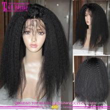 Brazilian virgin human hair glueless kinky straight full lace wigs