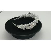 Argent à la main cristal perle mariage bandes de cheveux de mariée fleur coiffure accessoires de cheveux pour les femmes pour fille