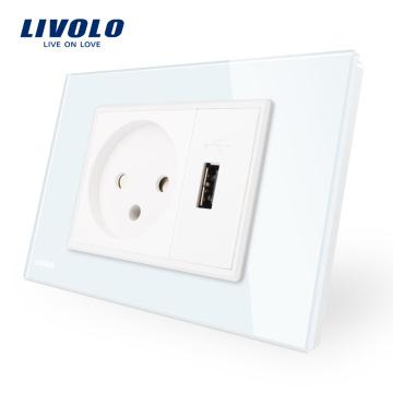 Livolo nouvelle arrivée prise murale murale avec panneau en verre de cristal blanc / noir avec chargeur USB VL-C9C1IL1U-11/12