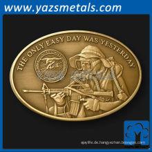fertigen Sie Münzen, kundenspezifische Metall oval Nay Seal Herausforderung Münze