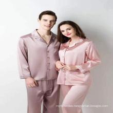 in stock wholesale two piece luxury pure real  mulberry ice women womens pajama100%silk satin pajamas dress set
