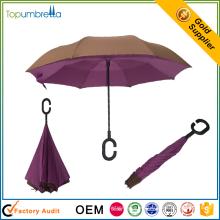 wholesale 23 inch hand open Plastic c handle inverse reverse folding umbrella