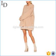 Sudaderas con capucha largas del OEM factory sweatshirts con las correas llano vestido de las sudaderas con capucha de la señora