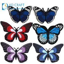 Pretty decoration cheap custom embroidered badges patches clothes large beautiful colorful embroidery iron butterfly patch