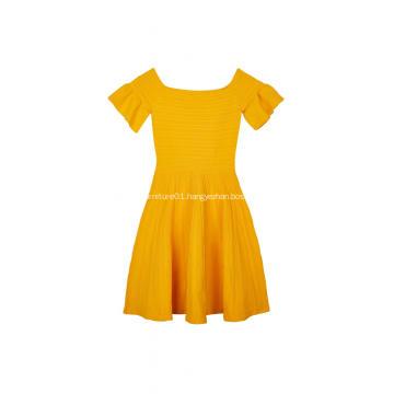 Women's Knitted Ottoman Stitch Zip-Back Ruffle Sleeve Dress