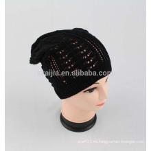 Nuevo sombrero de punto de acrílico hecho punto acrílico del balck de la manera del invierno