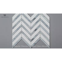 White And Blue Mixed Color Chevron Mosaic Glass Tile For Wall
