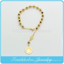 TKB-B0062 Religieux Rosay 6mm Or En Acier Inoxydable Perles Catholiques Bracelets