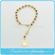 TKB-B0062 Religious Rosay 6mm Gold Stainless steel beads catholic Bracelets