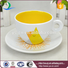 Wholesale Yellow Decal Ceramic Cup With Saucer