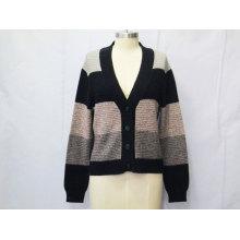 Las mujeres de punto de rayas de manga larga suéter de rebeca