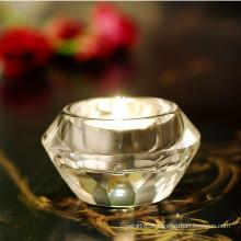 Castiçal de cristal redondo elegante K9 para decoração de casa