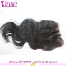 Gros indien remy cheveux humains 3 partie fermeture Lace Top trois fermetures