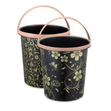 Plastic Flower Printed Waste Bin with Handle