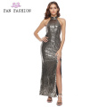 Robe de bal en sequins brillants gris foncé
