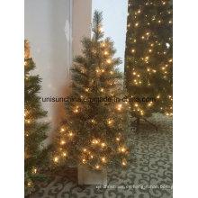 4FT Potted árbol de Navidad con luz LED y Silver Glitter Tips (decoración del hogar)