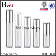 tube perfume glass bottle display, tube glass bottle display with metal cap