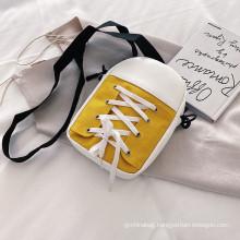 Factory wholesale creative canvas shoes shape mini fashion gift girl cotton canvas cross body bag