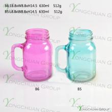 600ml cor com alça de vidro Mason Jars para venda