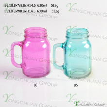 600ml Colour with Handle Glass Mason Jars for Sale