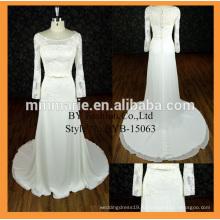 Новое прибытие высокого качества ткань атласная с длинным рукавом свадебное платье оптом платье с бантом пояс скромное платье невесты