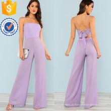 Gravata roxa de volta perna larga macacão OEM / ODM fabricação atacado moda feminina vestuário (TA7008J)