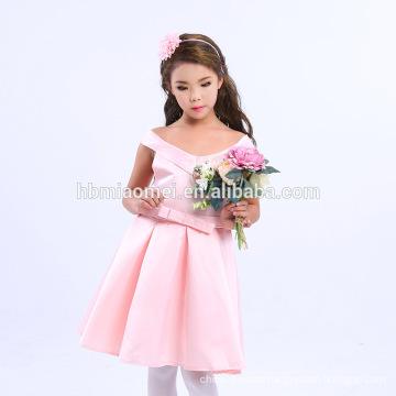 Hot Sales Purple Red Pink White Color V Neck Children Frocks Designs Baby Girl Summer Dress
