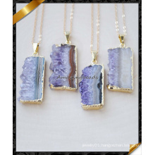 Hot! ! ! Natural Rectangle Amethyst Druzy Necklace, 24k Gold Plated Amethyst Necklace (FN088)
